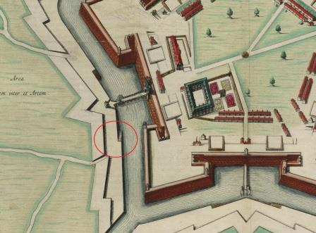 Detail from a sixteenth-century map of the citadel, indicating the steps to the moat