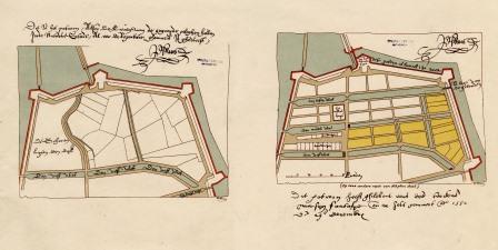 16de-eeuws schematisch plan Nieuwstad met vlieten