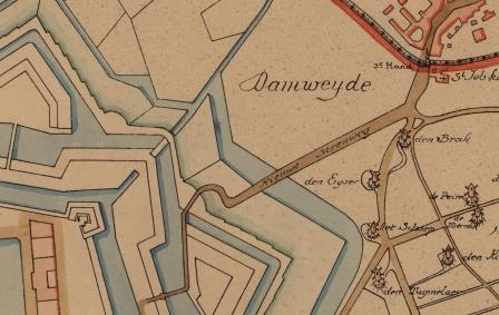 Map from 1830 featuring the Schijn Bastion and the Schijn lock