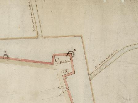 Map by Michiel Coignet (1618) featuring bastion 'Pesthuys'