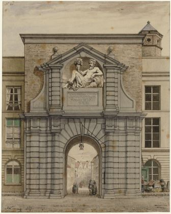 Waterpoort Gate in its original location, watercolour by J. Linnig (1847)