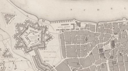 Map of the city with a view of the citadel and arsenal (1832)
