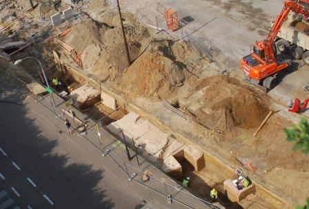 Het metselwerk van het Kipdorpbastion wordt in kaart gebracht – Foto stad Antwerpen dienst archeolog