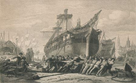 Shipyard in Antwerp during the Napoleonic era