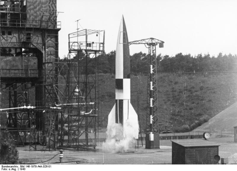 Launch of a V2 rocket in Peenemünde (Germany) in 1943