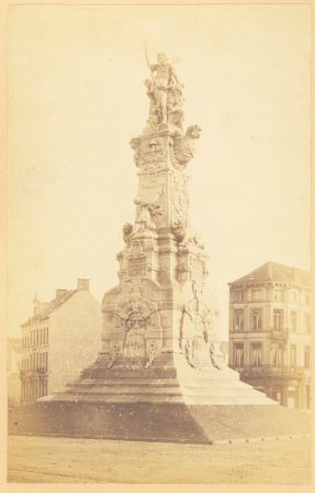 The monument before the fence around it was installed