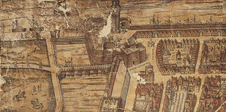 Saint Michael's Bastion on the map of Virgilius Bononiensis (1565)