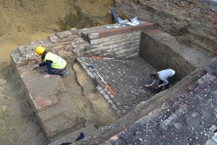 Archaeologists unearthed the cobbled incline adjacent to the moat wall