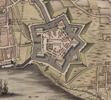 Eighteenth-century map of the citadel, indicating the various bastions