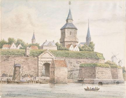 Kronenburg Gate and Kronenburg Tower in a watercolour by Jozef Linnig (1882)