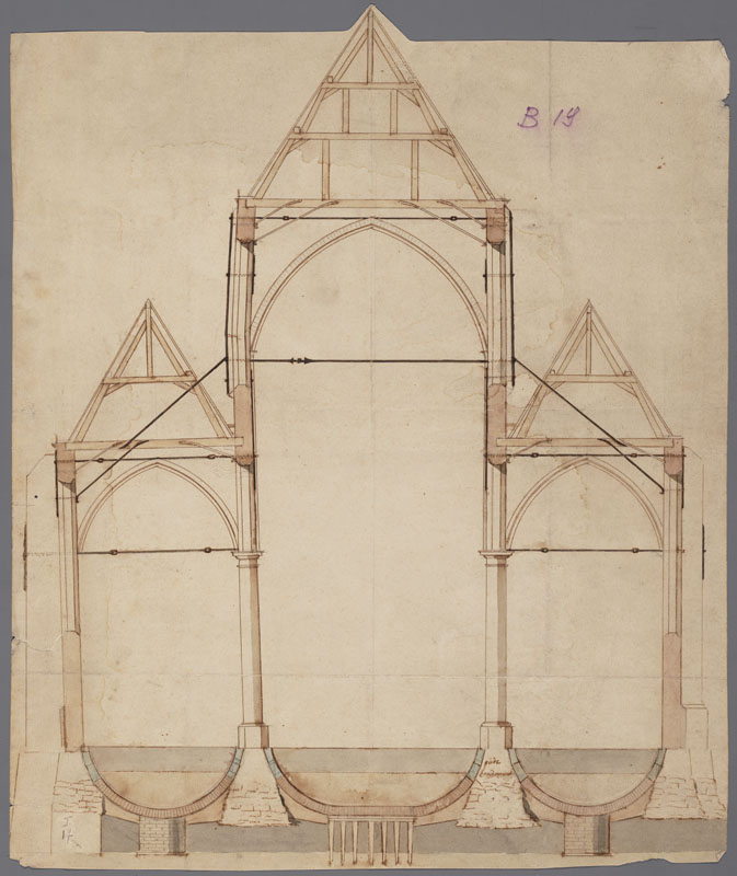 Cross-section of St. Walpurga's Church (Kerricx)
