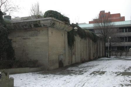 The bunker, nestled among more modern buildings