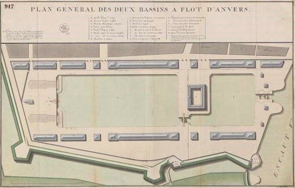 Map of Bonaparte Dock and Willem Dock, 1813