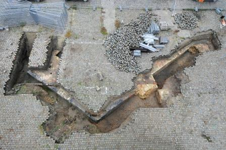 Top view of the bastion's southern face and flank during an archaeological survey of the Scheldt qua