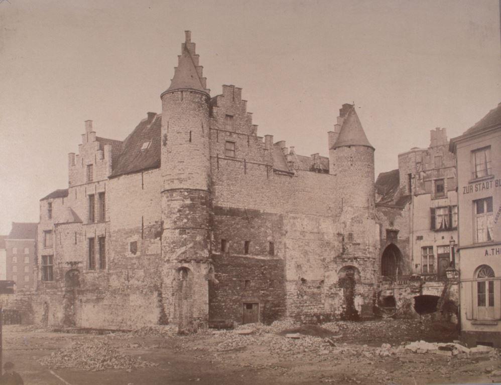 Afbraakwerken aan het Steen omstreeks 1880