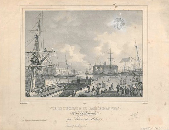 "Lithograph with a ""View of Bonaparte Lock and the docks"""