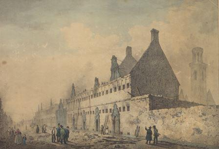 The former abbey buildings, used as an arsenal and prison, after the fire of 17 October 1830