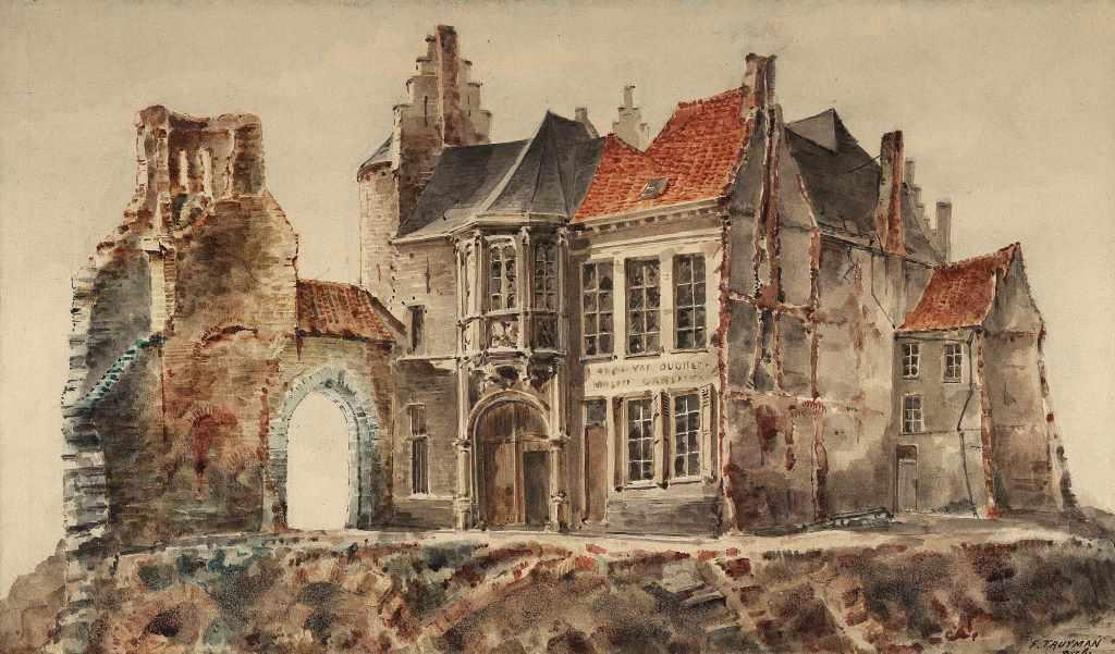"""Watercolour """"Steen Castle after the demolition works"""" (F. Truyman)"""