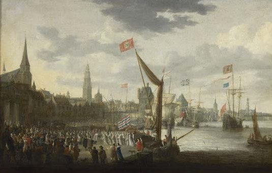 """Reception of St. Norbert on the wharf"""