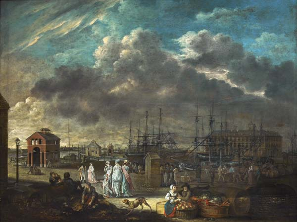 """""""View of the Small Dock and the Hanseatic House"""", c. 1812"""