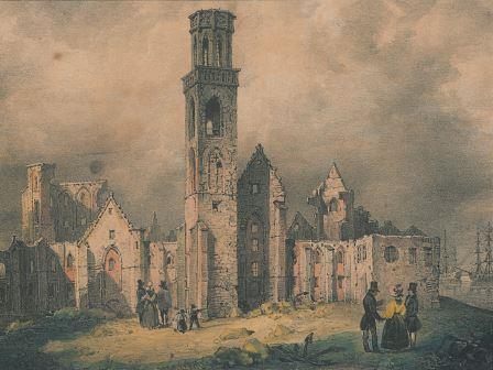 The ruins of the former abbey after the fire of 27 October 1830