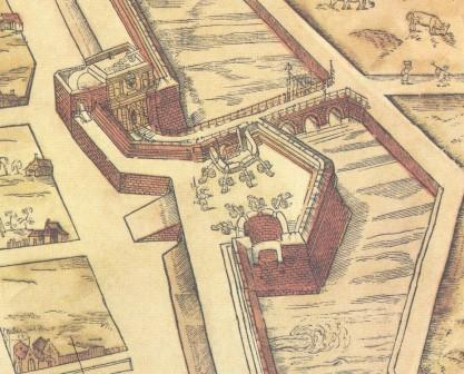 The Bastion of Slijkpoort on the map of Virgilius Bononiensis