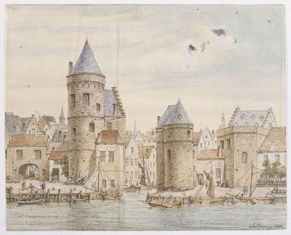 A view of Sint-Jansvliet and the medieval towers