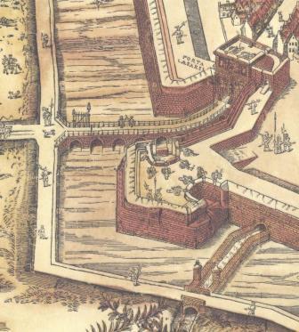 Keizerspoort op kaart Virgilius Bononiensis