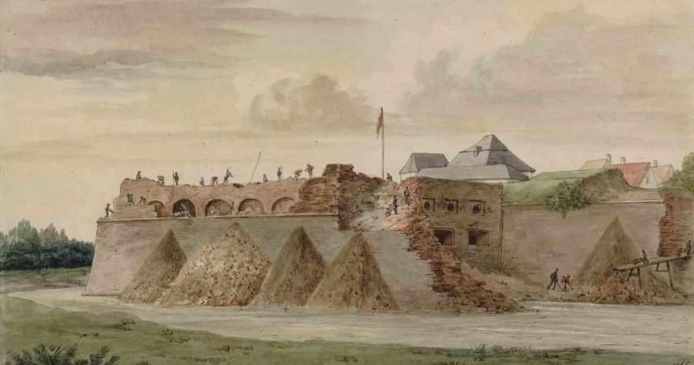 Aquarel afbraak Kipdorpbastion (J. Linnig)