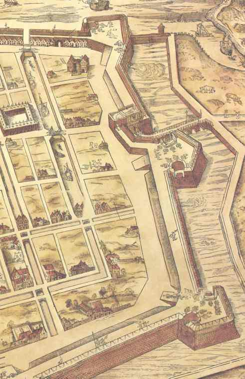 Northern part of the city wall on the map by V. Bononiensis
