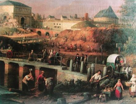 De sloop van de omwalling in 1864