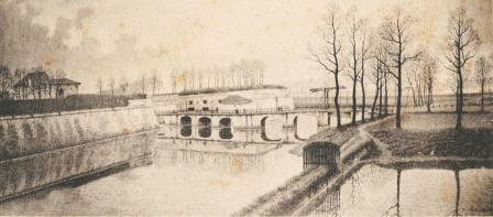 Zicht op de Kipdorpbrug in 1866