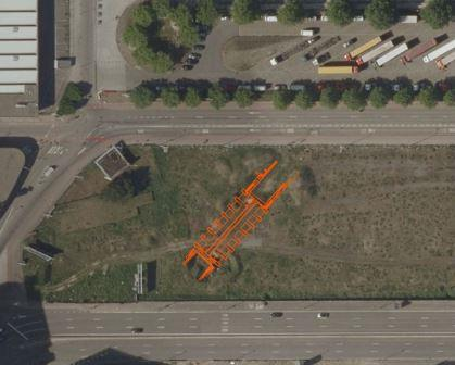 Luchtfoto met projectie van het plan van het Sas