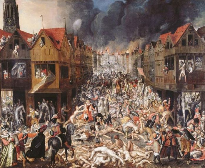 The Spanish Fury and the town hall on fire