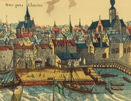 A view of the Bierpoort gates and the wharves around 1600