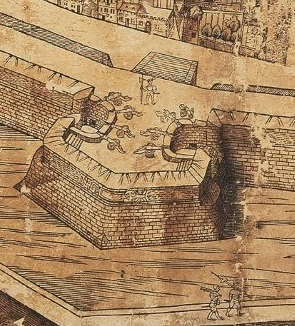Bastion of Huidevetters Tower on the map of Vergilius Bononiensis