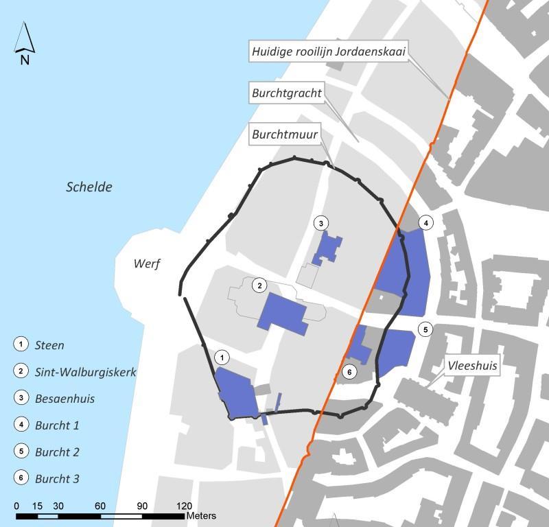 Situering archeologisch onderzoek burcht 2008-2009
