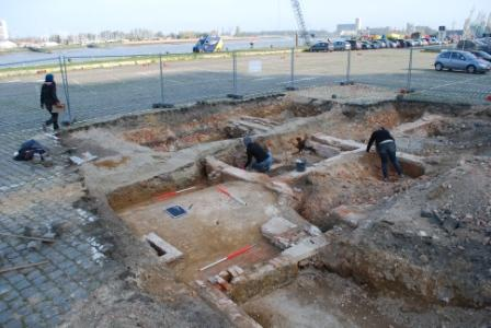 Excavations with traces of historic occupation
