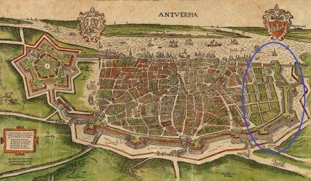 16de-eeuwse kaart Nieuwstad met vlieten