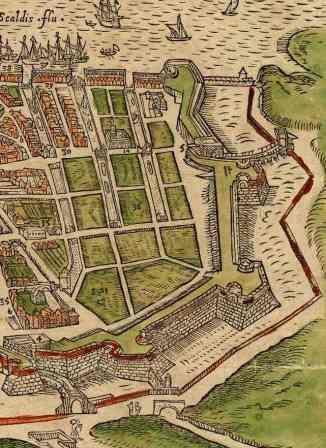 Detail 16de-eeuwse kaart Nieuwstad met vlieten