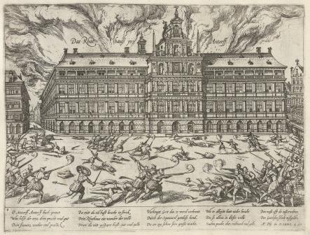 Brand tijdens Spaanse furie (F. Hogenberg)