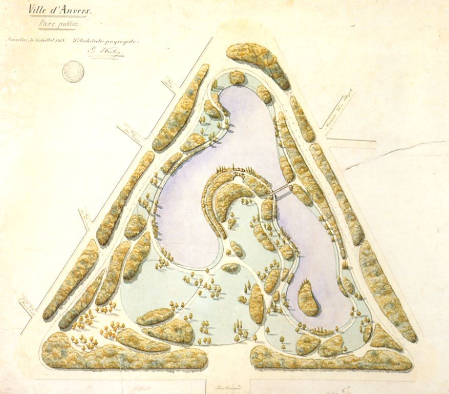 Design by Keilig for Antwerp's Central Park in 1868